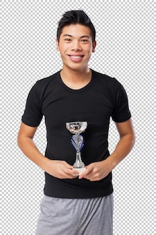 Happy chinese sport man with trophy