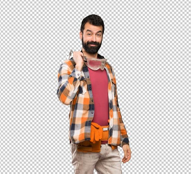 Happy craftsmen man