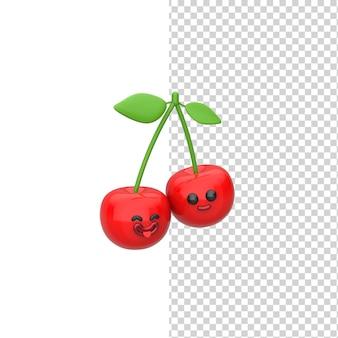 Счастливая милая улыбающаяся пара вишня, изолированные на белом фоне, 3d визуализация дизайн