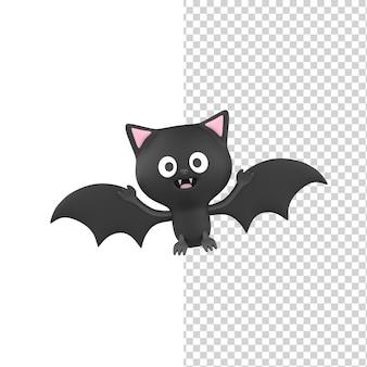 Счастливый милый улыбающийся хэллоуин черная летучая мышь 3d визуализации модель изолированный белый фон