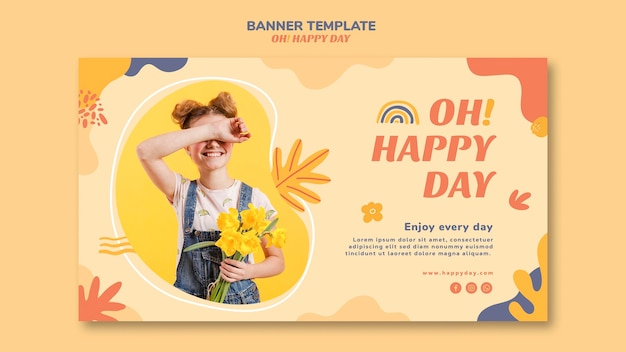 Happy day concept banner template design