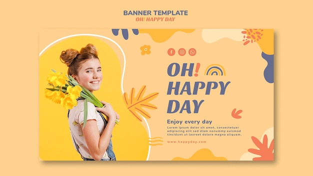 Happy day concept banner template style