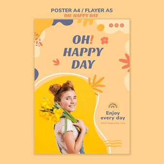 Happy day concept flyer design