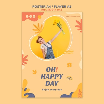 Happy day concept flyer style