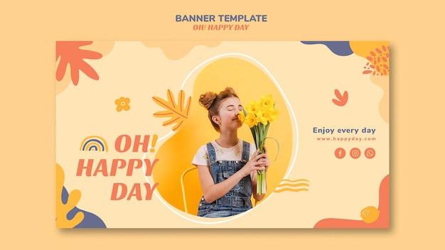 Счастливый день концепция горизонтальный баннер