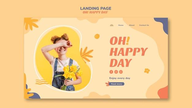 Счастливый день концепция дизайна целевой страницы