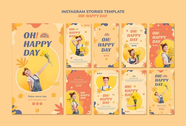 Happy day instagram stories template