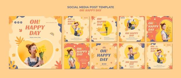 幸せな日のソーシャルメディアの投稿