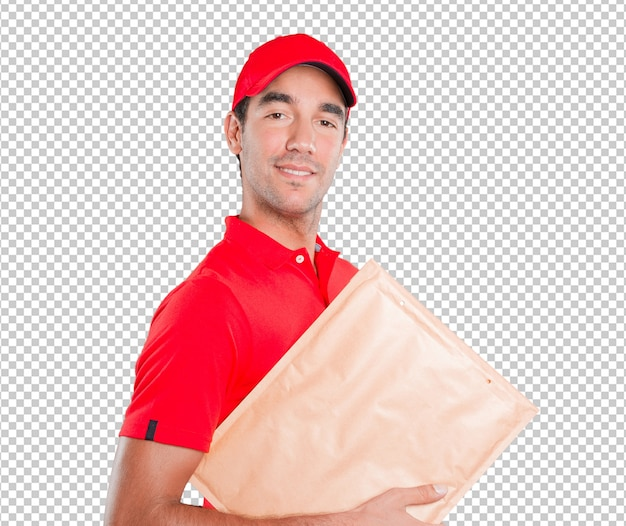 Happy delivery man delivering a package