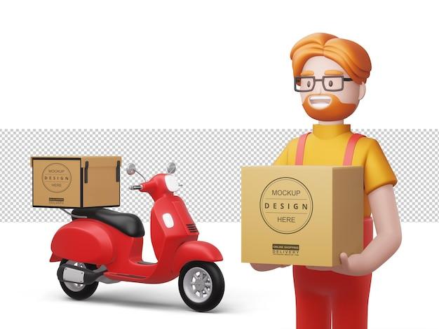 Счастливый доставщик держит коробку с мотоциклом в 3d-рендеринге