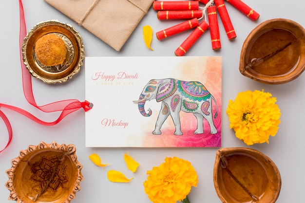 Happy diwali festival mock-up watercolor card with ribbon