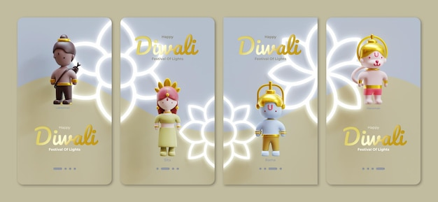 Happy diwali social media story template with 3d rendering character illustration