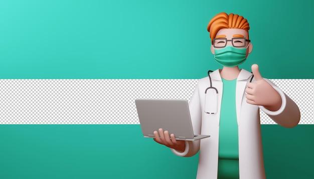 Счастливый доктор в маске показывает палец вверх с ноутбуком в 3d-рендеринге