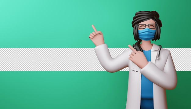 Happy doctor woman pointing fingers 3d rendering