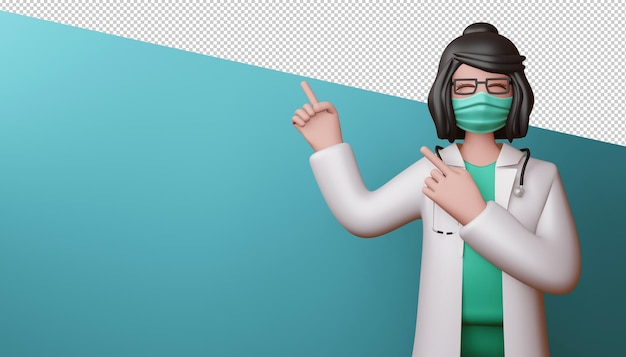행복 한 의사 여자 손가락 3d 렌더링을 가리키는