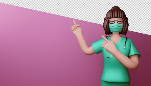 幸せな医者の女性が指を指す3dレンダリング