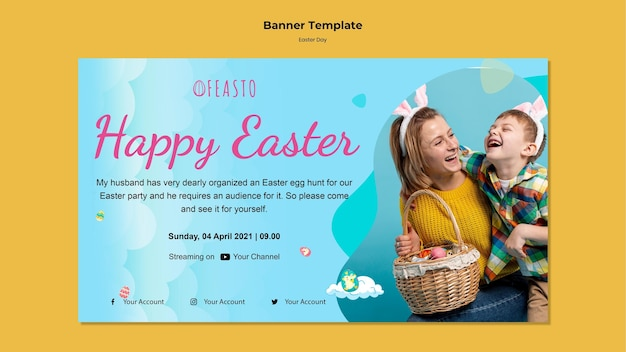 Happy easter banner template