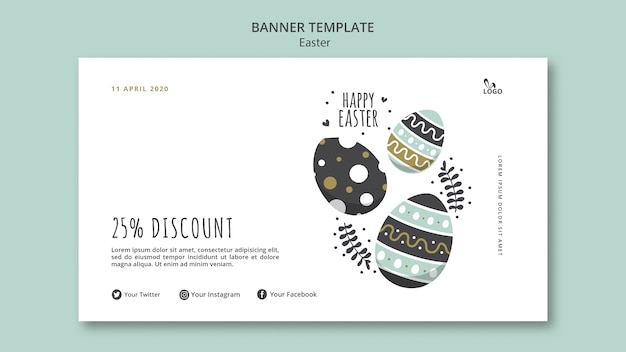 Happy easter banner with discount