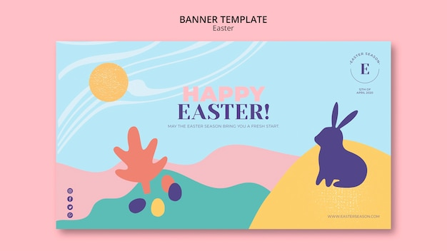 Happy easter day banner template with illustrated bunny