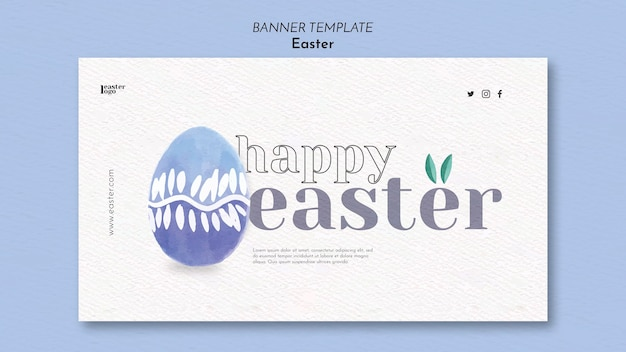 Happy easter day banner template Free Psd