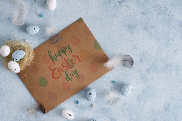 Felice giorno di pasqua card mock-up