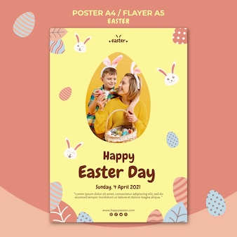 Happy easter day flyer template with photo