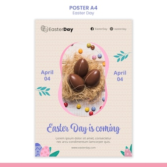 Happy easter day flyer template