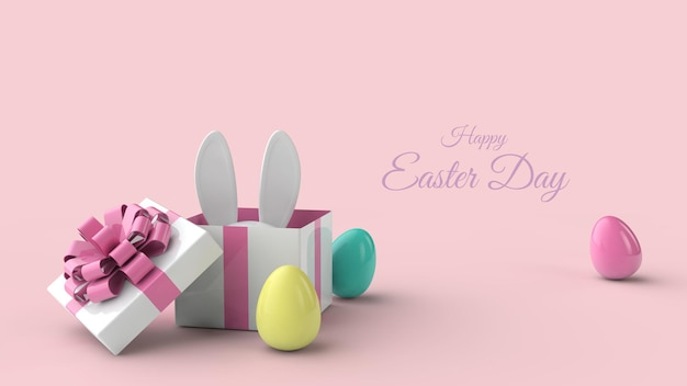 Happy easter day greeting card template