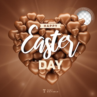 Happy easter day in heart shape with chocolate realistic 3d render