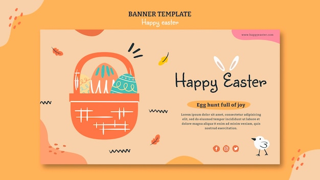 Happy easter day horizontal banner template