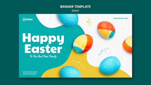 Happy easter day horizontal banner