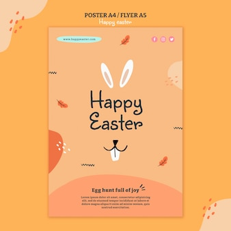 Happy easter day illustrated flyer template