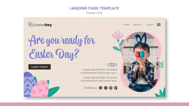 Happy easter day landing page Premium Psd