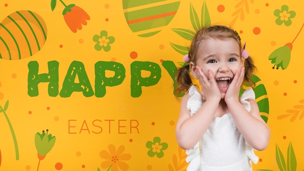 Happy easter day mockup with girl