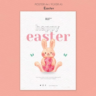 Happy easter day poster template