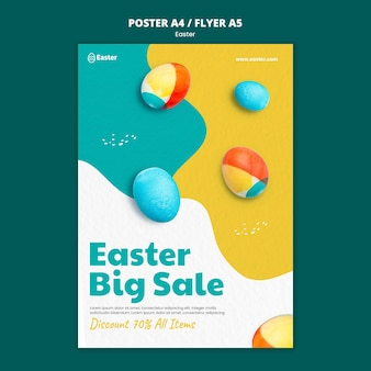 Happy easter day realistic flyer template