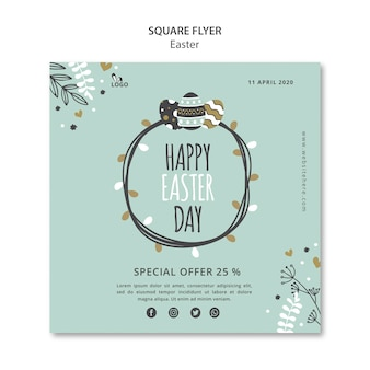 Happy easter day square flyer template