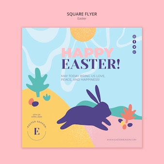 Happy easter day square flyer