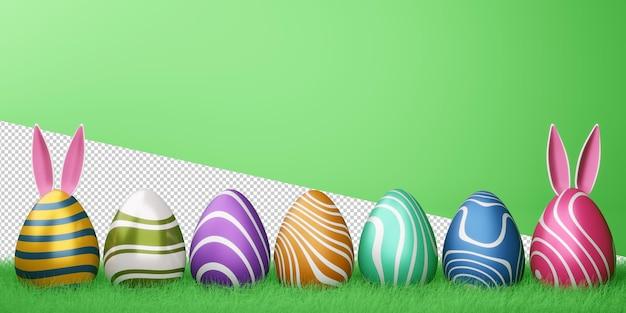 Счастливой пасхи с милым кроликом и разноцветными яйцами в 3d-рендеринге