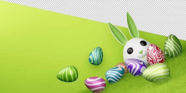 3d 렌더링에 귀여운 토끼와 다채로운 계란 행복 한 부활절 날