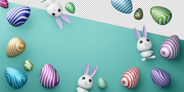 Happy easter day with cute bunny and colorful eggs in 3d rendering