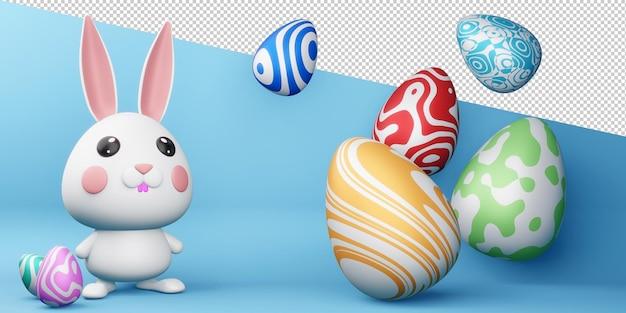 Счастливой пасхи с милым кроликом с разноцветным яйцом в 3d-рендеринге