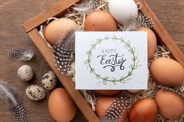 행복 한 부활절 메시지와 계란