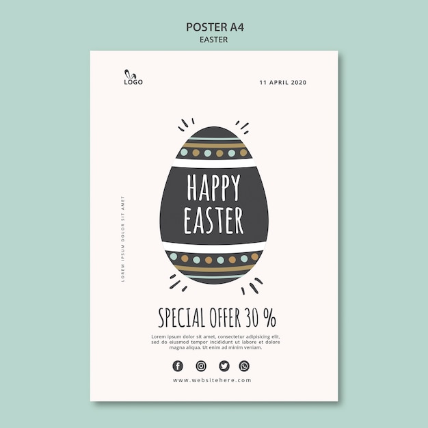 Happy easter poster template