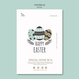 Happy easter poster with eggs