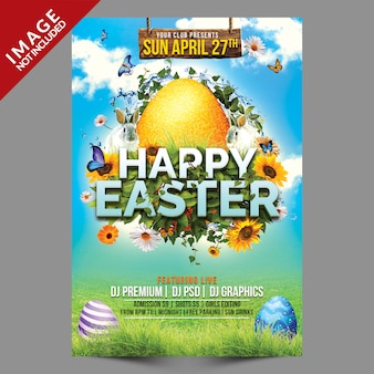 Happy easter premium flyer template