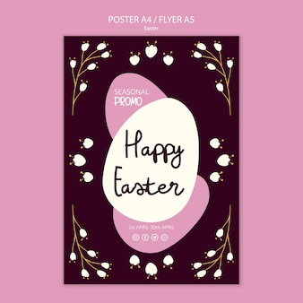 Happy easter sales flyer template