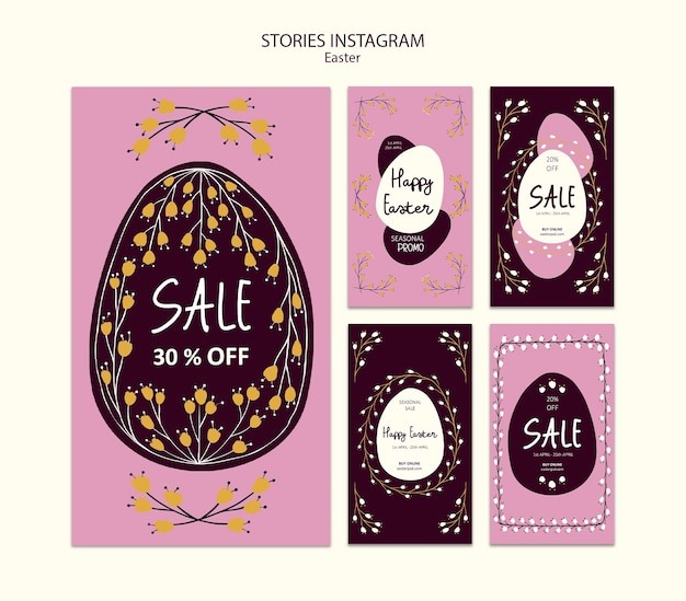 Happy easter sales instagram stories Free Psd