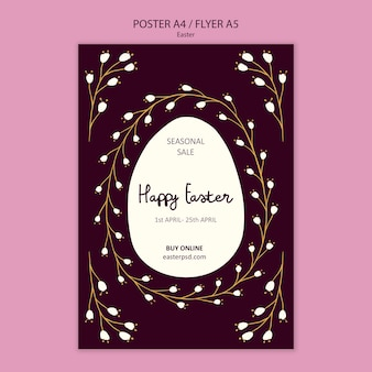 Happy easter sales poster template