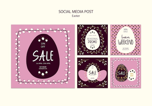 Happy easter sales social media post